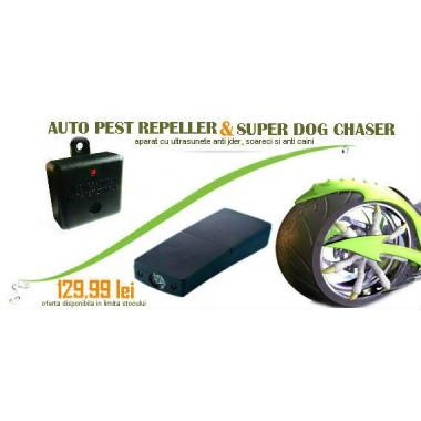 Aparat anti caini Super Dog Chaser si generator ultrasunete Auto Pestrepeller